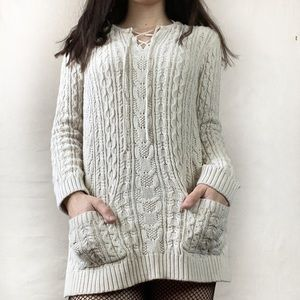 JEANNE PIERRE pull over cable knit sweater Medium